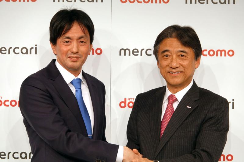 統合について多くの質問が挙がったが、メルカリ山田社長(左)は「今回は統合を考えていない」とコメント。ドコモ吉澤社長(右)は新規事業などに意欲を見せた