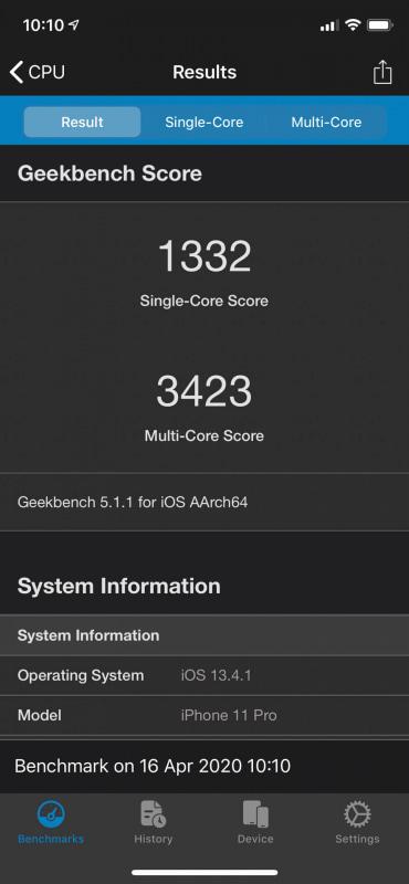「Geekbench 5」によるiPhone 11 Proのベンチマークスコア。iPhone SE(第2世代)と同じプロセッサを搭載するという