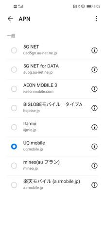 出荷時に設定されてるau網のAPN。au 5GのAPNが登録済み