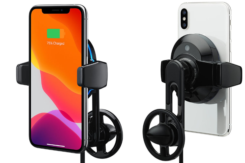 スコーシュの「Scosche MagicGrip Freeflow Wireless Charging Vent Mount」。クルマのエアコン吹き出し口に装着するタイプのスマートフォンホルダーで、Qi充電対応のスマートフォンで使用できる。対応iPhoneモデルは、iPhone 11 Pro、iPhone 11 Pro Max、iPhone 11、iPhone SE(第2世代)、iPhone XS、iPhone XS Max、iPhone XR、iPhone X、iPhone 8、iPhone 8 Plusとなっている(が、iPhone以外のQi対応スマートフォンでも使用できた)。国内ではApple限定販売となっており、アップルストア税別価格は9380円。