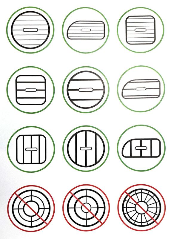 説明書より抜粋だが、このような形状の吹き出し口に対応する。なお、チャージャー本体のくちばしの幅は25mm程度で、くちばしの片側の厚さ(最厚部)は10mm程度だ。