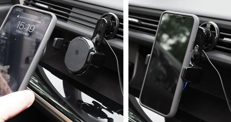 チャージャーに端末を軽く押し当て、チャージャー側がQi給電可能なスマートフォンを検知したら、2本のグリップが電動で閉じて端末をホールドするというシクミ。なのでQi充電対応のスマートフォンなどでないとこのチャージャーは使えない。当然、チャージャーにUSB給電していない場合も使えないので、純粋なホルダーとしても使えない。ただし、スマートフォンをホールドした状態で(クルマのエンジンが止まるなどして)チャージャーへのUSB給電がカットされても、そのままスマートフォンをホールドし続ける(そこからスマートフォンを外すことも可能)。