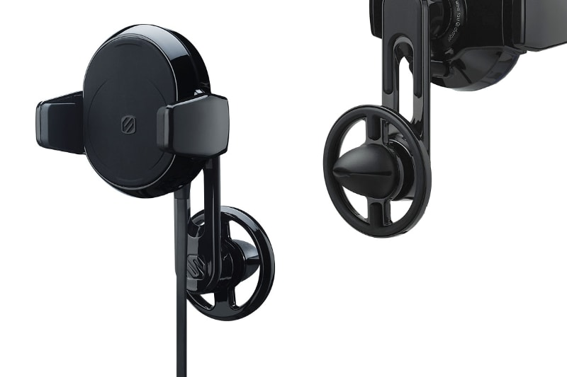 「Scosche MagicGrip Freeflow Wireless Charging Vent Mount」のルーバー取り付け部。吹き出し口からの空気が通過するような形状になっている。