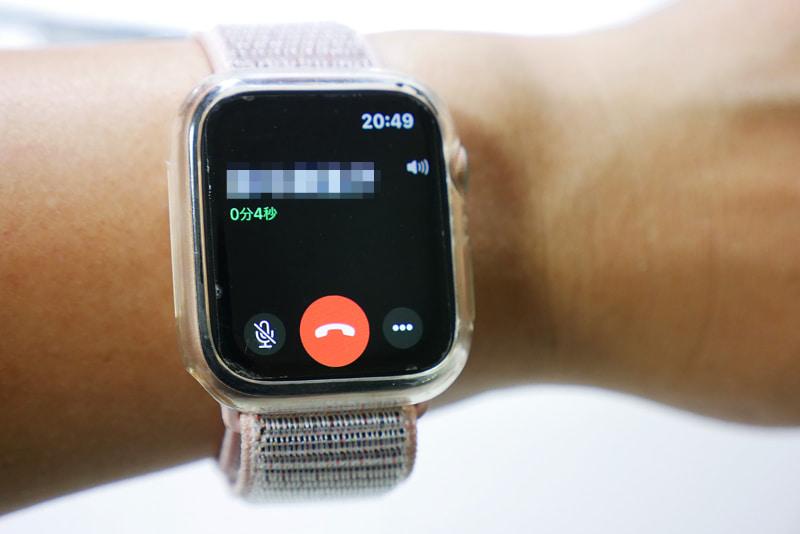 そのままApple Watchで通話開始。Apple Watchを口の近くに持って行かなくても問題なく通話できます