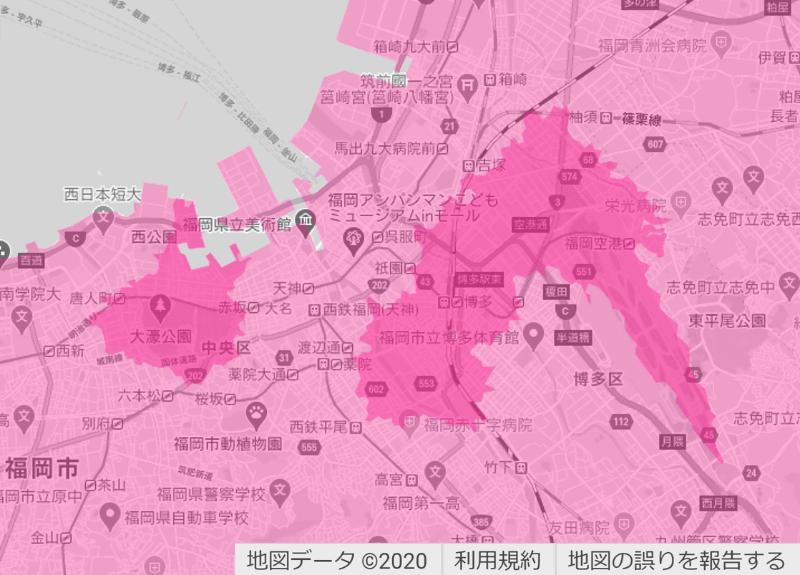 福岡市(左)と宗像市(右)周辺の楽天回線エリア(濃いピンク色)