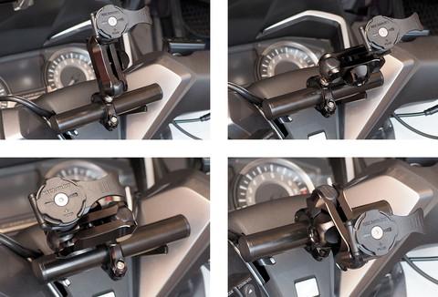 続いて「Moto マウント 5 クランプボールタイプ」。関節が2つあり、指でノブを回して緩めるだけで関節を動かせるので、車両に固定した後でもマウント位置を自在に動かせる。また、アーム部分から先はノブを緩めることで車両から簡単に取り外せるので、マウントの盗難防止にも役立つ。