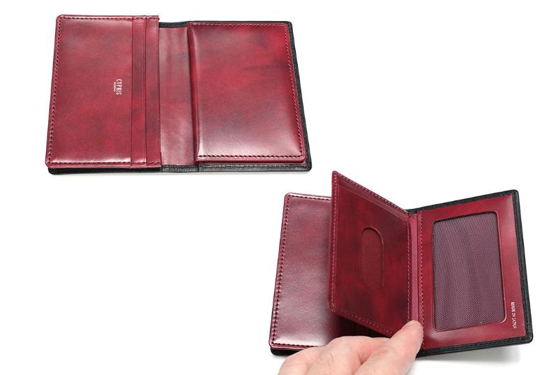中央にフラップのようなカードポケットがある構造。それぞれのポケットに1枚ずつカードを入れたとすると、6枚のカードが入る。実際は20枚くらいまでのカードが入ると思われる。