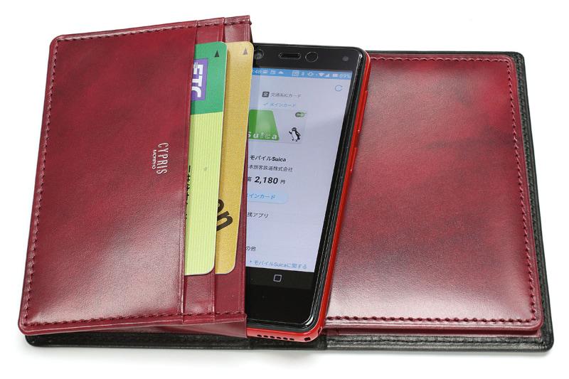 背面に面した大容量ポケットにRakuten Miniがすっぽり入る。他のポケットにカードや紙幣などを入れられる。小銭入れはないが、パスポケットの一部を使えば少量の硬貨を収納できる。
