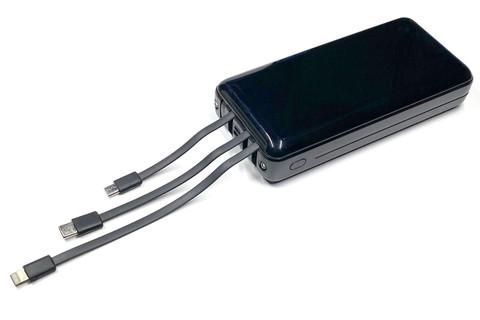 給電用ケーブルを内蔵し、Lightning/microUSB/Type-Cに対応する。出力電流は最大2.1A。フツーに便利♪