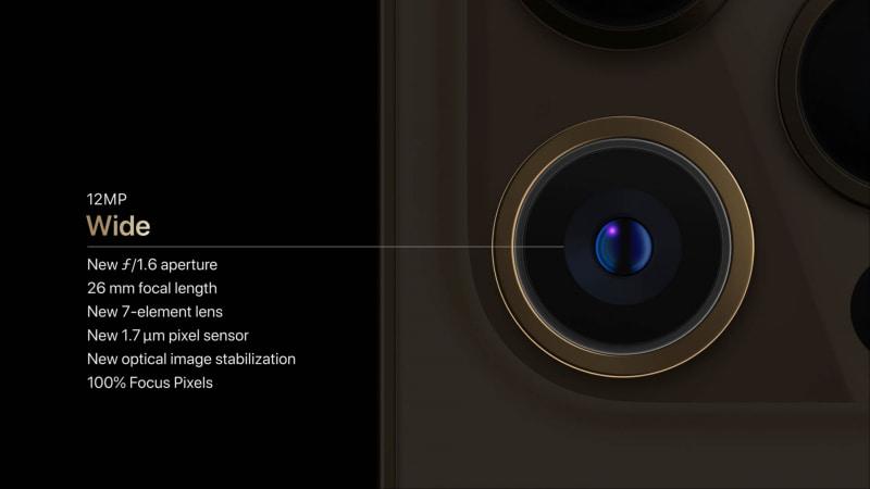 iPhone 12 Pro Maxの広角カメラ。配置も異なってる