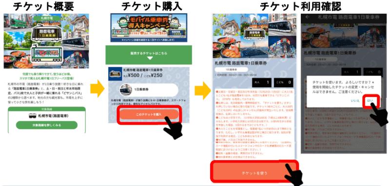 購入イメージ(路面電車1日乗車券)