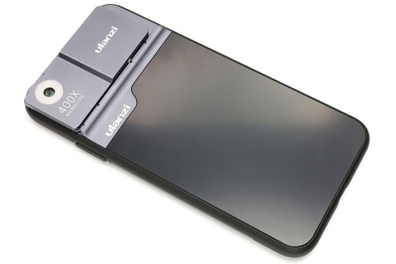 Ulanzi「U-Lens Microscope For iPhone 11 Pro Max」。ケース側のカメラ部に400倍率レンズが搭載されていて、iPhoneを顕微鏡に変身させるという製品。現在は在庫切れ? もしかしたらディスコンかも