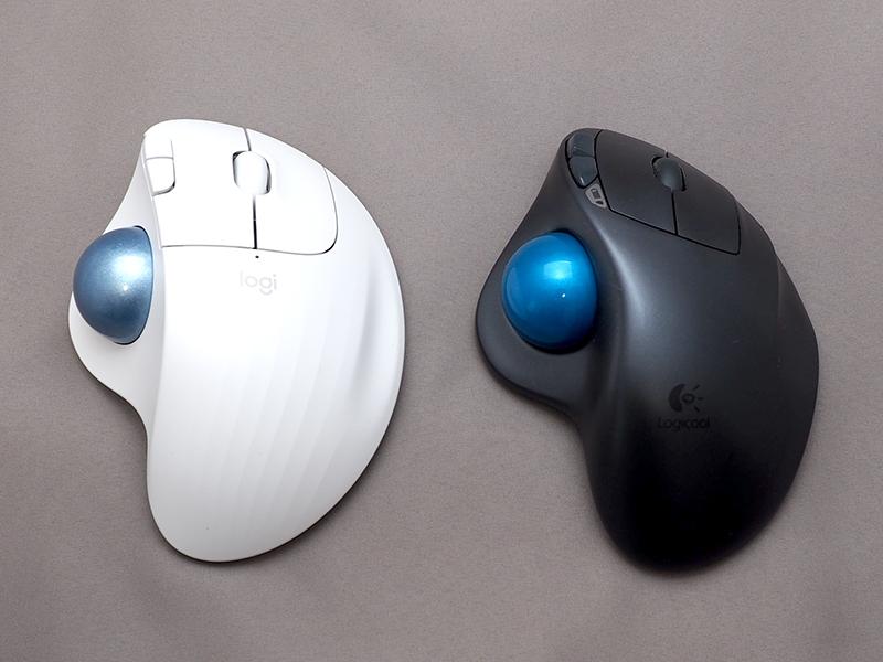 上から見ると、ボールの格納スペースがやや左寄りになり、左右クリックボタンが大きくなっている。ただし、使用感はほぼ変わらない