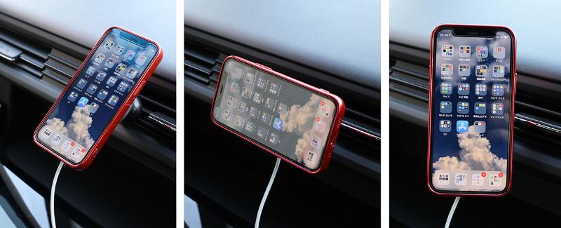 ホルダーの角度がかなり自由に動くことと、縦向き横向きを容易に変えられる(端末を回すだけ)なので、画面の向きは自由自在という感じ。普通一般のスマートフォンフォルダーよりずっと使いやすい。素晴らしいぞMagSafe対応車載ホルダー!!!