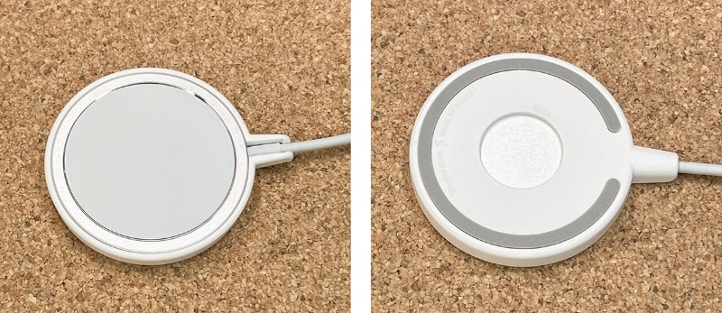 MagSafe充電器を装着した様子。これも「キツめでピッタリ」という装着感。容易にはMagSafe充電器が外れない。