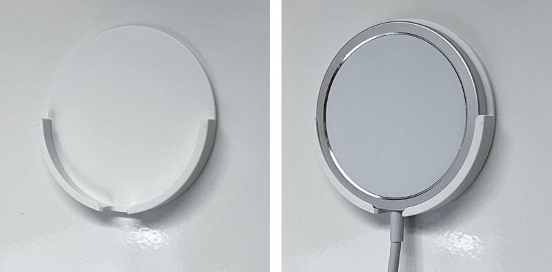 ある程度平滑な壁面にペタリと貼り付け、そこにMagSafe充電器を掛けておける。MagSafe収納アイテムというわけだ。