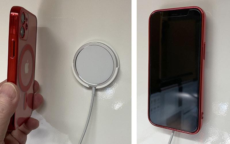 こういう使い方は想定されていないと思うが、ホルダーに収納したMagSafe充電器にiPhoneを押し当てると、iPhoneを壁掛けすることができた。若干磁力不足という印象があるので、あくまでも自己責任での使い方となる。