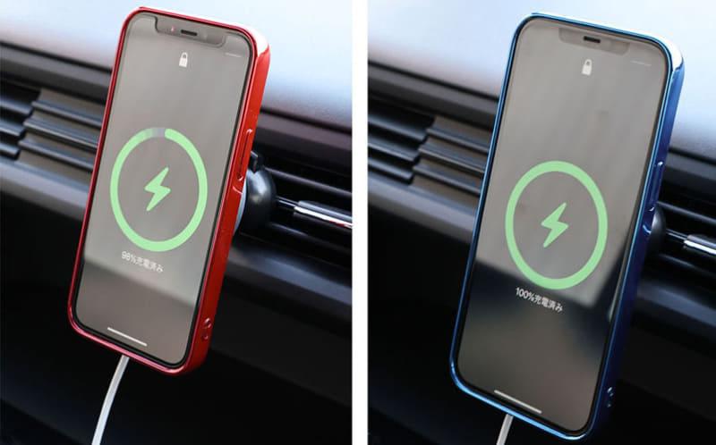 iPhone 12シリーズにApple純正MagSafe充電器を装着すると、こんな緑色の丸いグラフィックが表示される。充電器側のNFCをiPhoneが読み取って「MagSafe充電器が装着された」と認識したのだ