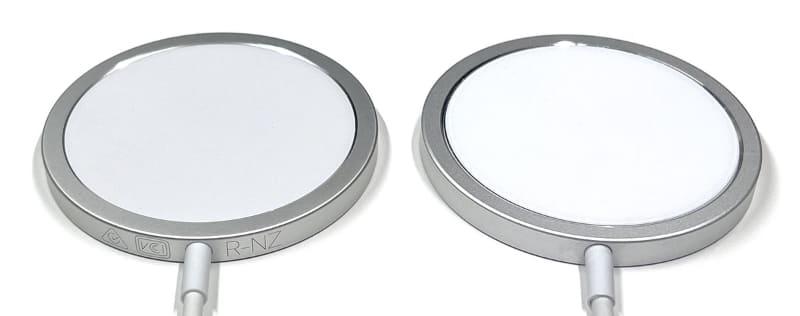 左がApple純正MagSafe充電器、右がパチモン。充電器のケーブルの付け根に各種刻印が施されているのがApple純正品である。……が、偽刻印が施されたパチモンも存在するのかもしれない