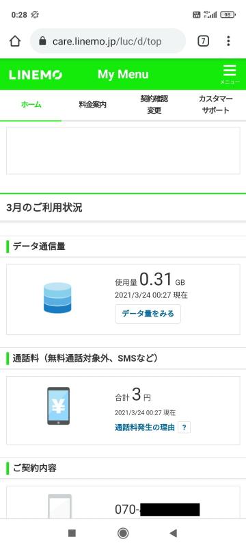 初期設定マニュアルに記載されていたQRコードを読み取り、「My Menu」ページにアクセス。契約情報が表示できるけど、何となく、My SoftBankやMy Y!mobileに雰囲気が似てるような……