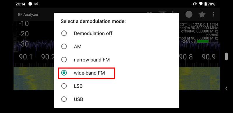 FM放送を聴く場合は「wide-band FM」をタップする。なお、このSDRドングルで受信できる周波数は25MHz~1750MHz。普通一般のラジオ放送としてはFM放送しか受信できない。