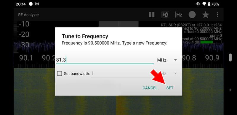 入力した周波数を確認したら「SET」ボタンをタップ。