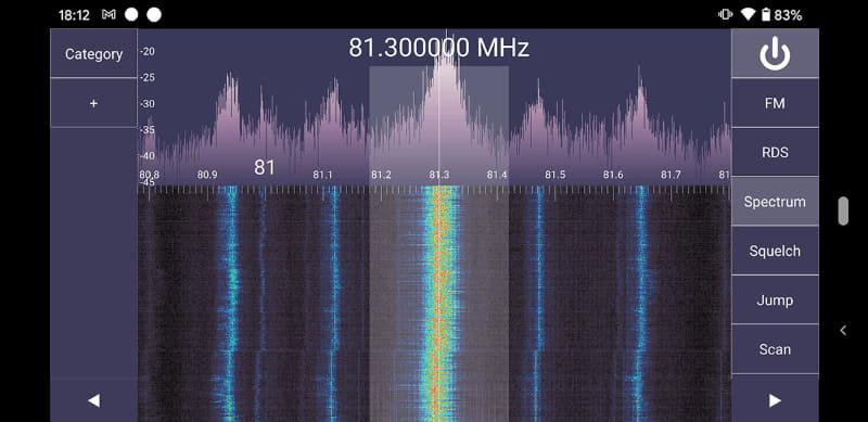 ソフトウェアラジオアプリの「SDR Touch」。実質、有料アプリだが、表示がキレイで機能性も高いアプリだ。