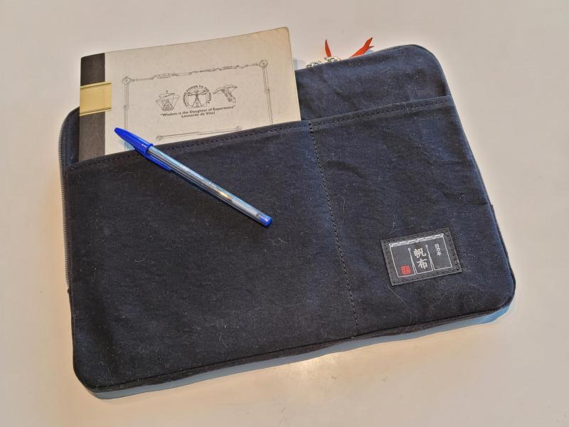 普段は仲間と創った正方形に近いオリジナルデザインのツバメ大学ノートとBICボールペンだけを入れている