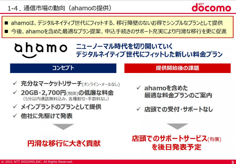 ahamo提供開始後の課題