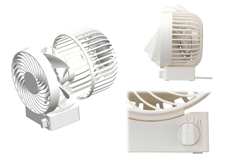 2重反転ファン(4枚型3D羽根)を採用。風量は本体前面のロータリースイッチで2段階(弱風・強風)に切り替えられる。弱風の時には1枚のファンが、強風の時に2枚のファンが回転する。送風角度を約30°の範囲で調節できる。ファンを覆うカバーは脱着可能