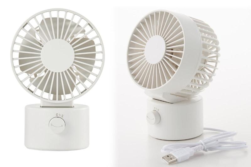 無印良品「USBデスクファン(低騒音ファン・首振りタイプ) ホワイト/型番MJ‐9ZF021CZ03」。価格は3490円