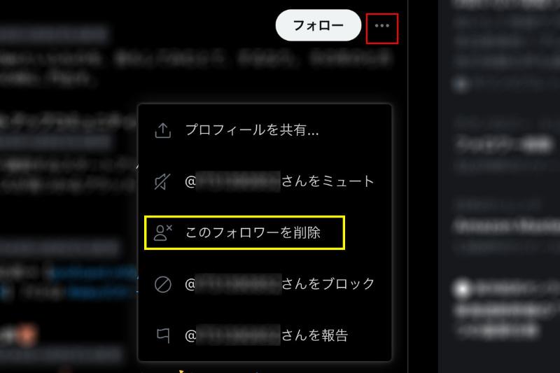 Twitterのプロフィール画面より(一部改変)。フォローボタン横のメニューアイコン(赤四角)から「このフォロワーを削除」(黄四角)を選択