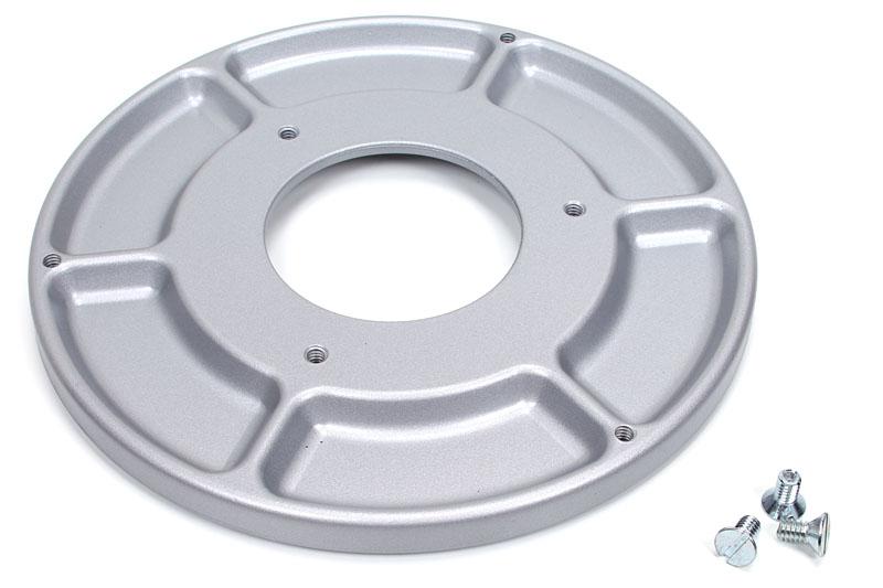 Model:312 Tray Base Mount。1kg弱ある円形の薄いベースマウントで、周囲にネジや部品といった小物が入る皿がある。付属のネジでベースを固定する