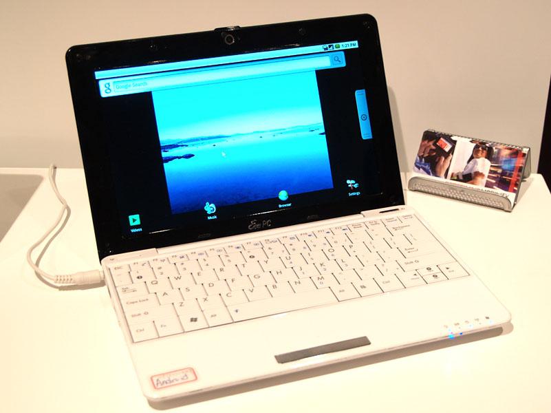 COMPUTEX TAIPEI会場近くにクアルコムが設けたプライベートブースで展示されるSnapdragon+Android搭載のASUS EeePC