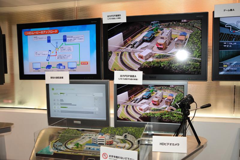 HD動画の伝送デモ。下のモニターには送信前、上のモニターには受信した映像が表示されている。動いている電車(映像上は左側)の位置がほぼ同じになっている。