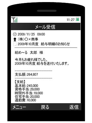 携帯電話への配信画面例
