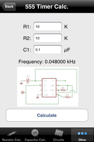 Electrical Ref(115円)。抵抗器のカラーコード→抵抗値変換、3桁表示コンデンサの静電容量値換算、555タイマICの定数計算、LEDの電流制限抵抗値計算を行える。そのほか、よく使われる回路図やArduino関連のリファレンスや回路図も表示できる。ただ、上の2つのアプリで代用が利く機能が多く含まれていたりもする