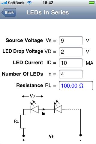 Electronics ToolKit(無料)。いくつか機能があるが、555タイマICの定数(抵抗値やキャパシタ値)を入力して発信周波数を求められる機能は便利。LEDを1個使ったとき、複数を直列で使ったときの電流制限抵抗値も容易に求められる。シンプルながらもたびたび役立つアプリなのだ。