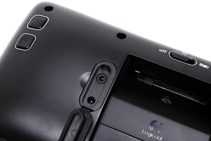 背面には電源コネクタおよび3.5mmステレオミニジャック対応の予備入力(外部入力)端子がある。