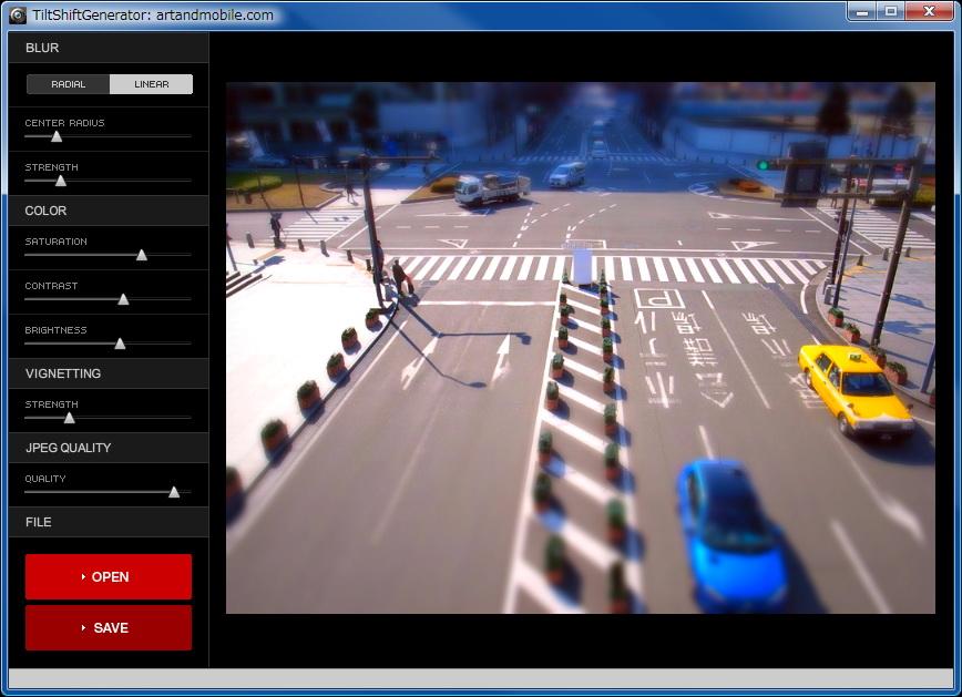 デジカメ写真をミニチュア風写真に加工できたりする「TiltShift Generator」。カンタンに扱えるフリーソフトですな。