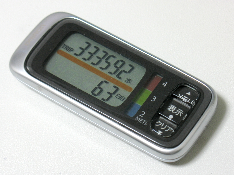 製品本体。液晶画面の右側にあるのは歩行強度(METs)のレベルメータらしいが、現状ではほぼ未使用