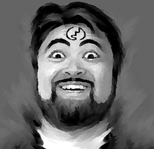 現在のポリゴンスタパ顔製作のきっかけとなったグラフィック。サイバー佐藤さんと拙者のお遊びですな。画像の元は拙者の顔のスナップ写真