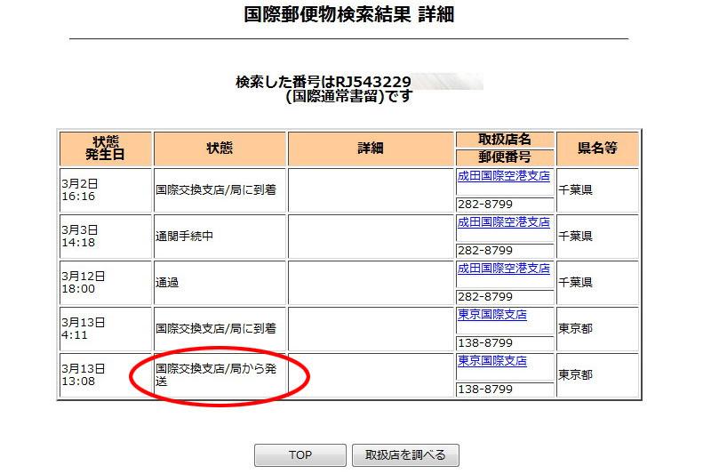 (4)わ~「国際交換支店/局から発送」って出た~!! が、日本の税関まで来た荷物が外国に送り返された場合もこう表示されるようだ