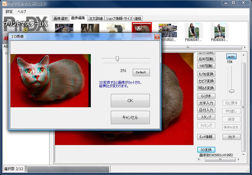 プリントマスターDX2に加わった3Dフォト変換機能。普通のデジカメ画像を3D画像(アナグリフ)に変換できる