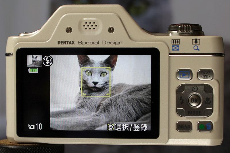 登録後、このようにOptio I-10がペットの顔を自動認識~自動撮影するようになる。案外高い確率で認識しますヨ!!