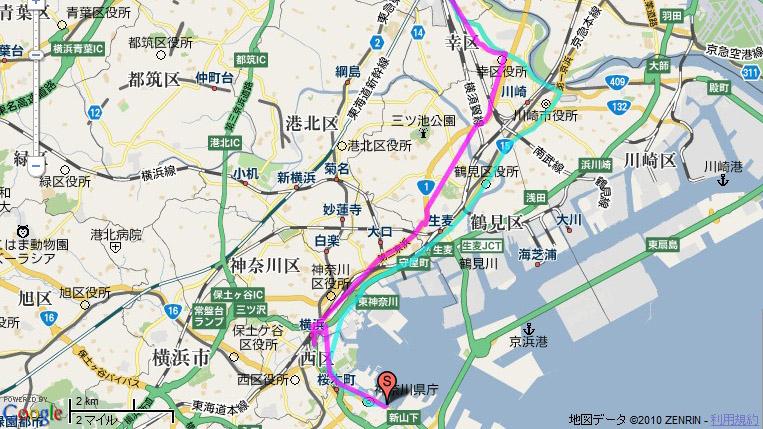付属ソフトによるルート表示。青が往路で紫が復路だが、復路の国道1号では大きくワープしている箇所が見られた(生麦~鶴見付近)。