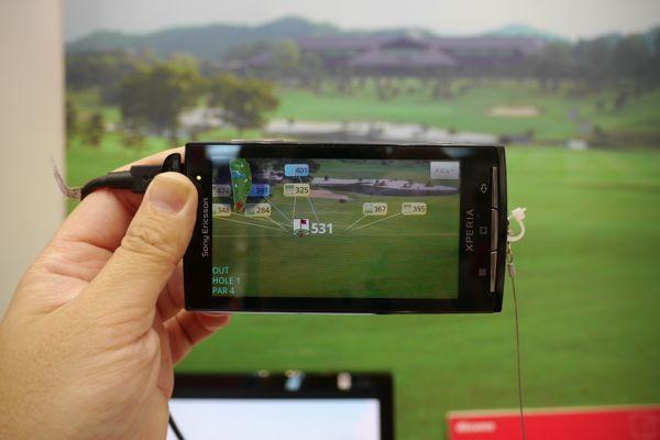 ARにより、どちらの方向に打てばよいかがわかるXperia向けゴルフアプリ