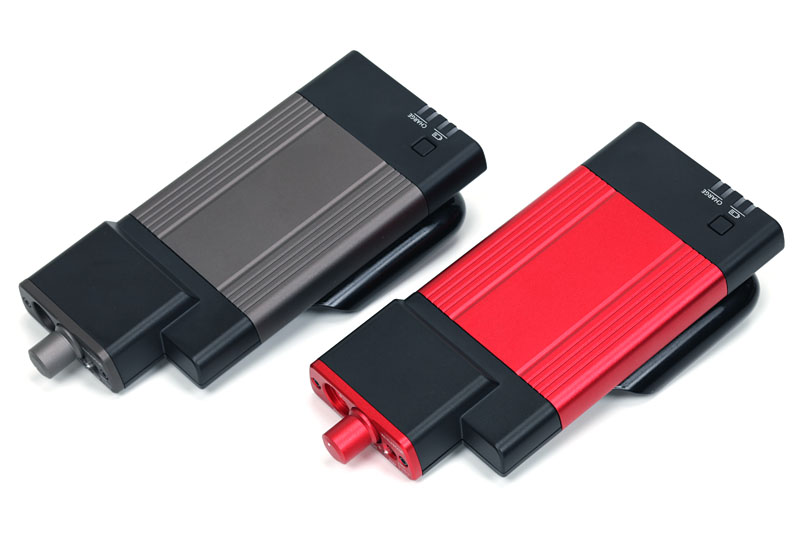 GO-DAPのカラー(アルミパーツ色)は現在のところガンメタリックのみ。これ以外に赤(写真のもの)と白アルマイト(薄シルバー)も計画中とのこと