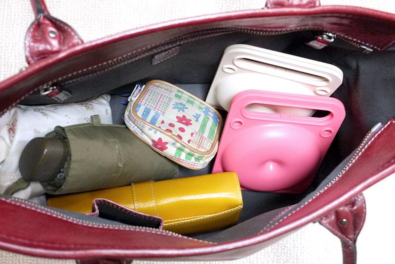 フタをしてバッグの中へ。潰れないか心配する必要がないのは楽