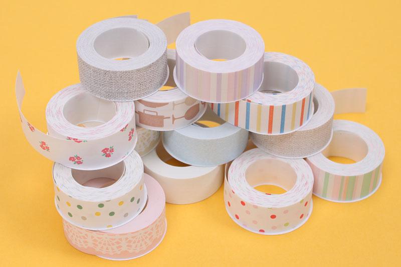 専用テープはこんなふーな癒し系カラーっていうかパステルカラーを基調としたものが15種類ある